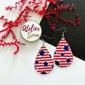 Stars & Stripes Tear Drop Earrings